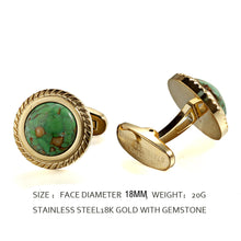 Load image into Gallery viewer, Green Dinosaur Stone Jagged Edge Casting Serrated  stainless steel 316L 18K Gold Plating cufflinks for Tuxedo Business Formal Shirts one pairs