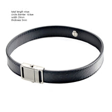 Laden Sie das Bild in den Galerie-Viewer, Black Snake Genuine Leather Button Buckle Choker Necklaces Bracelet NeckCollar Dual Use 41CM
