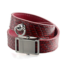 Load image into Gallery viewer, Red Snake Genuine Leather Button Buckle Choker Necklaces Bracelet NeckCollar Dual Use 41CM