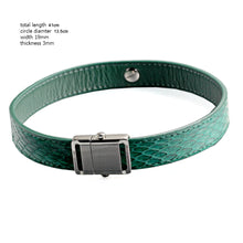 Load image into Gallery viewer, Green Snake Genuine Leather Button Buckle Choker Necklaces Bracelet NeckCollar Dual Use 41CM