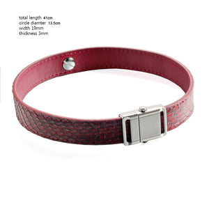 Red Snake Genuine Leather Button Buckle Choker Necklaces Bracelet NeckCollar Dual Use 41CM