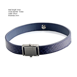 Blue  Snake Genuine Leather Button Buckle Choker Necklaces Bracelet NeckCollar Dual Use 41CM