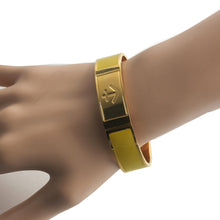 Load image into Gallery viewer, open nautical anchor yellow Painted enamel stainless steel gold plated fashion bangle