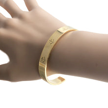 Load image into Gallery viewer, open nautical anchor  gold plated stainless steel fashion cuff bangle