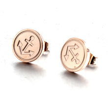 Load image into Gallery viewer, nautical anchor rose gold stainless steel fashion Stud earring