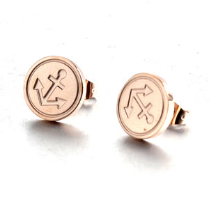 nautical anchor rose gold stainless steel fashion Stud earring