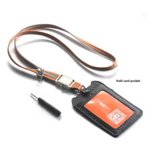 FORCEHOLD Leather Zipper Steel Detachable push button Buckle Car key lanyard,ID Card holder Neck Straps ,Phone Holder Straps Necklace ,Mobile Phone Anti-Lost Anti-Theft Rope Straps (brown)