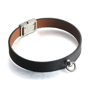 FORCEHOLD Easy disassemble Quick Release silver pet dog collar steel Detachable button buckle top layer cow Genuine Leather Soft Touch Collars Luxury Padded Pet Collar 36CM / 41CM