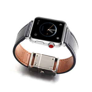 FORCEHOLD quick release easy disassemble silver push button Buckle Compatible for Iwatch Band Black Leather Loop Replacement Strap Compatible for iWatch Series 3 2 1 (38mm) Series 4 (40mm)