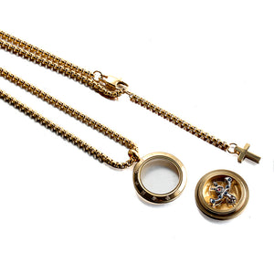 Forcehold gold Rotating movement glass cover screw opened with cross pendant stainless steel man necklace