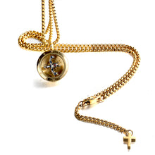 Load image into Gallery viewer, Forcehold gold Rotating movement glass cover screw opened with cross pendant stainless steel man necklace