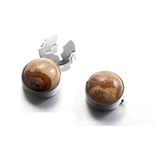 Load image into Gallery viewer, Natural picture stone map coffee color silver BUTTON COVER for Tuxedo Business Formal Shirts 17.5MM one pairs