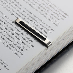 Black paint drill crystal stainless steel man tie clip steelCreative bookmark steel money clip