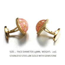 Load image into Gallery viewer, sheet  gold pink jelly  Casting Serrated  stainless steel 316L cufflinks for Tuxedo Business Formal Shirts one pairs