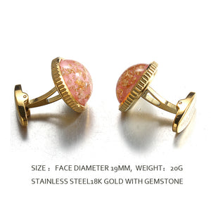 sheet  gold pink jelly  Casting Serrated  stainless steel 316L cufflinks for Tuxedo Business Formal Shirts one pairs