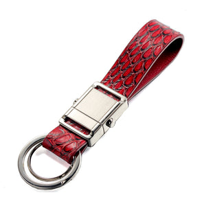 Red Snake Genuine Leather Push Button Detachable Car Key Chain Key Holder Key Organizer for Men Women