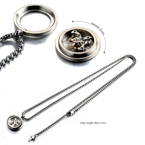 Forcehold Rotating movement glass cover screw opened with cross pendant stainless steel man necklace