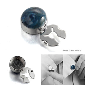 Forcehold Cosmic nebula blue agate stone  silver BUTTON COVER for Tuxedo Business Formal Shirts 17.5MM one pair