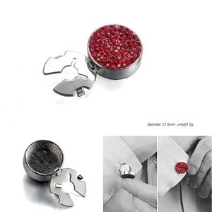 Forcehold starry sky full RED zircon silver BUTTON COVER for Tuxedo Business Formal Shirts 17.5MM one pair