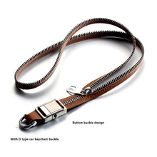 Load image into Gallery viewer, FORCEHOLD Leather Zipper Steel Detachable push button Buckle Car key lanyard,ID Card holder Neck Straps ,Phone Holder Straps Necklace ,Mobile Phone Anti-Lost Anti-Theft Rope Straps (brown)