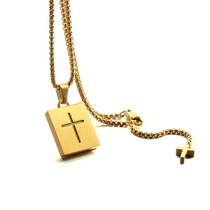 Forcehold TF card micro SD card holder self-bombing slot cross pandent stainless steel fashion necklace gold
