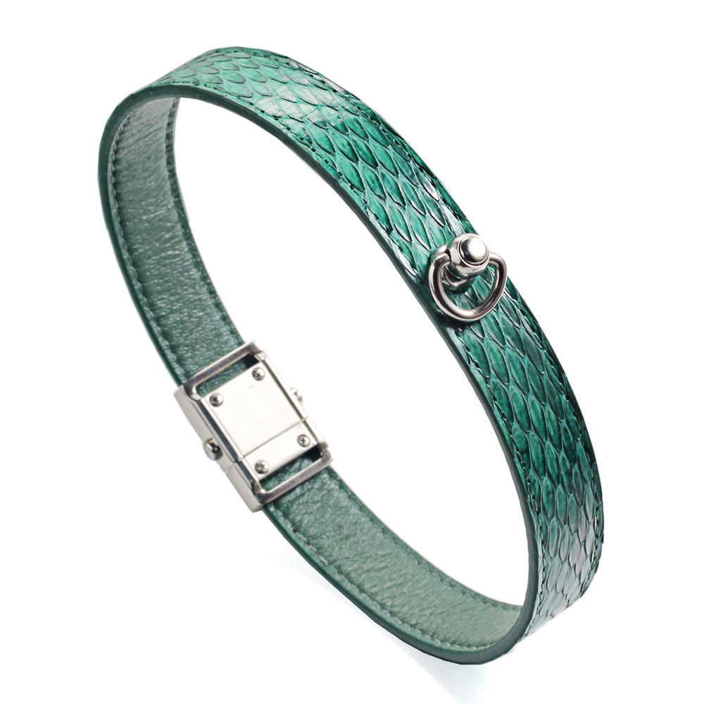 Green Snake Genuine Leather Button Buckle Choker Necklaces Bracelet NeckCollar Dual Use 41CM