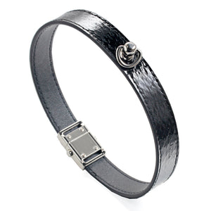 Black Snake Genuine Leather Button Buckle Choker Necklaces Bracelet NeckCollar Dual Use 41CM