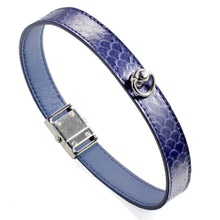 Load image into Gallery viewer, Blue  Snake Genuine Leather Button Buckle Choker Necklaces Bracelet NeckCollar Dual Use 41CM