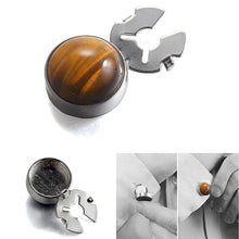 Charger l'image dans la galerie, Natural enamel gold tiger eye stone BUTTON COVER for Tuxedo Business Formal Shirts 17.5MM one pairs