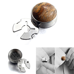 Natural picture stone map coffee color silver BUTTON COVER for Tuxedo Business Formal Shirts 17.5MM one pairs