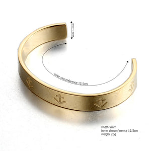open nautical anchor  gold plated stainless steel fashion cuff bangle