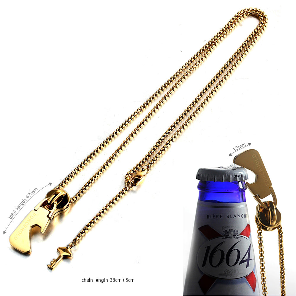 FORCEHOLD Bottle Opener gold Necklace Zipper Head with Key Pendant Stainless Steel Necklace,Traveler Tools for Men As Gifts