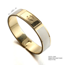 Load image into Gallery viewer, open nautical anchor white Painted enamel stainless steel gold plated fashion bangle