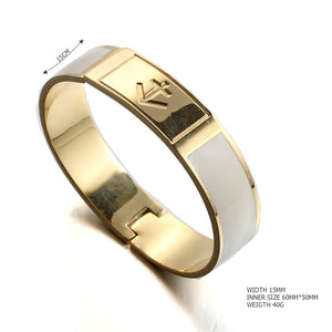open nautical anchor white Painted enamel stainless steel gold plated fashion bangle