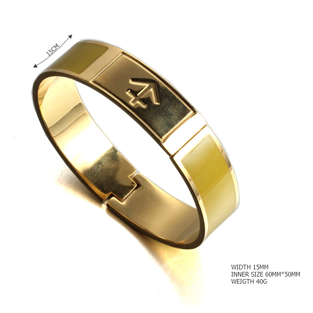 open nautical anchor yellow Painted enamel stainless steel gold plated fashion bangle