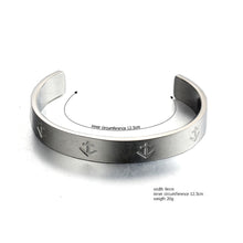 Laden Sie das Bild in den Galerie-Viewer, open nautical anchor stainless steel fashion cuff bangle