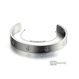 open nautical anchor stainless steel fashion cuff bangle