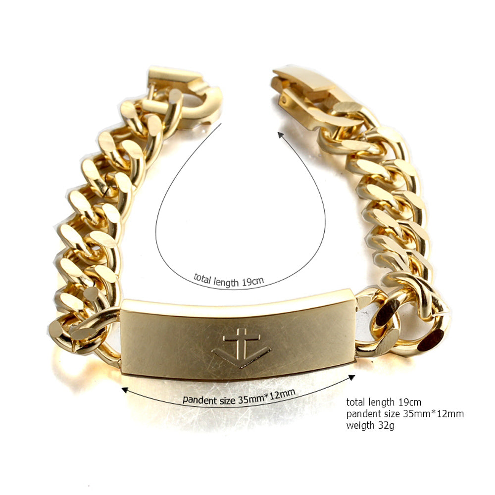 nautical anchor GOLD stainless steel fashion chain bracelet
