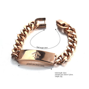 nautical anchor rose gold stainless steel fashion chain bracelet