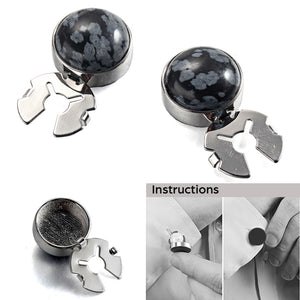 Forcehold  Black Snowflake Stone Silver BUTTON COVER for Tuxedo Business Formal Shirts 17.6MM one pair