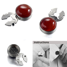 Load image into Gallery viewer, Forcehold  Red Agate Stone Silver BUTTON COVER for Tuxedo Business Formal Shirts 17.6MM one pair