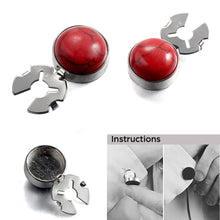 Load image into Gallery viewer, Natural Red Turquoise Silver BUTTON COVER for Tuxedo Business Formal Shirts 17.6MM one pair