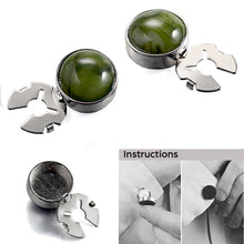 Load image into Gallery viewer, Green Algae Stone Silver BUTTON COVER for Tuxedo Business Formal Shirts 17.6MM one pair