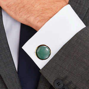 Green Aventurine Casting Serrated  Stainless Steel 316L Cufflinks For Tuxedo Business Formal Shirts One Pairs