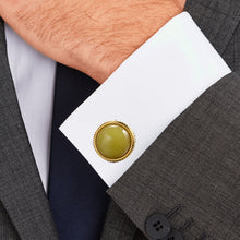 Load image into Gallery viewer, Natural lemon stone Egg yellow  Casting Serrated stainless steel 316L cufflinks for Tuxedo Business Formal Shirts one pairs