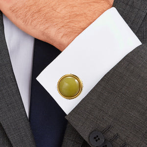 Natural lemon stone Egg yellow  Casting Serrated stainless steel 316L cufflinks for Tuxedo Business Formal Shirts one pairs