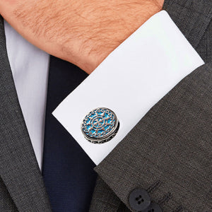 Blue Retro Palace Court Flower Vine Carving Stainless Steel 316L Cufflinks For Gentry Tuxedo Business Formal Shirts