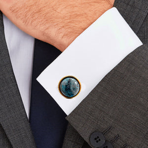 Blue Crazy Blue Agate stone Casting Serrated  stainless steel 316L cufflinks for Tuxedo Business Formal Shirts one pairs