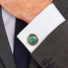 Load image into Gallery viewer, Blue Dinosaur Stone Jagged Edge Casting Serrated  stainless steel 316L cufflinks 18K Gold Plating for Tuxedo Business Formal Shirts one pairs
