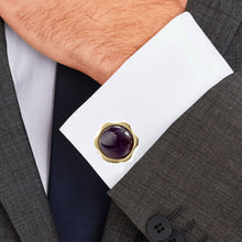 Load image into Gallery viewer, Purple Amethyst stone Sunflower Flower Stainless steel 316L 18K Gold Plating Cufflinks for Tuxedo Business Formal Shirts one pairs